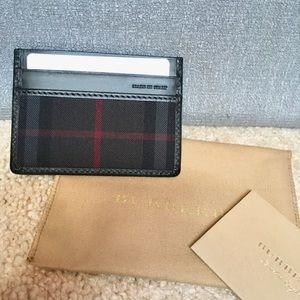Burberry black canvas check card holder/case